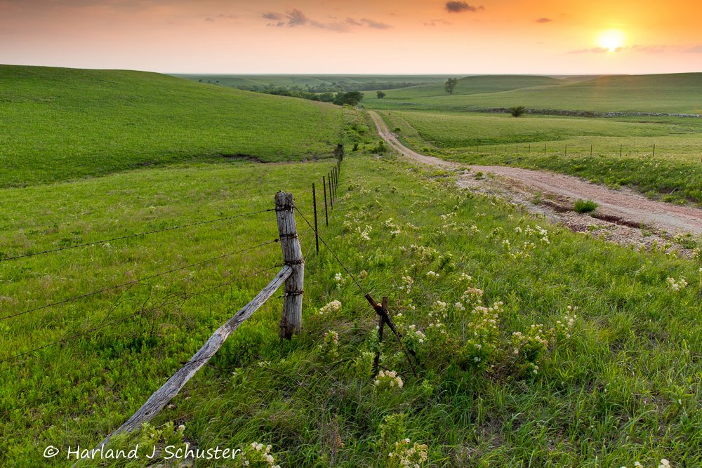 Sunset, Coyne Road, Chase county, KS.  By: Harland Schuster