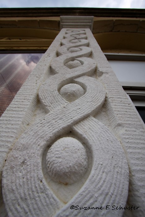 Handcarved detail on the Elmdale bank front